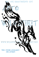 Leaping Starry Fox Tribal Design by WildSpiritWolf