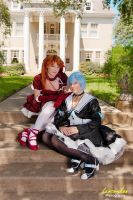 Sitting Pretty - Rei and Asuka by MelfinaCosplay