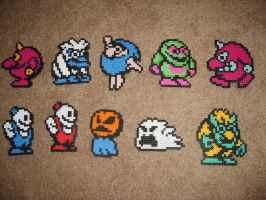 Snow Bros. Perler magnets by ShampooTeacher