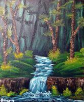 Forest Stream: Bob Ross Style by GroudonMan