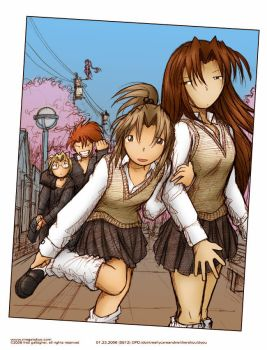 Megatokyo - School Days by ess-jay-arr