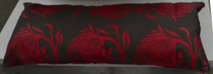 Pillow Red Flowers long by re--creation
