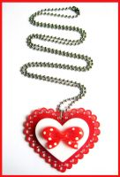 Red Heart and Bow Necklace by cherryboop