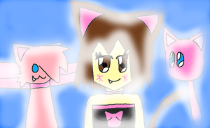 Catgirl And Her Little Friends Tammy And Myu by LadyCatgirl