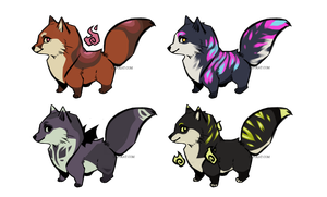 CLOSED $5/500 points baby foxies by Capukat