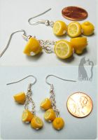 Polymer Clay Dangling Lemon Earrings by Talty