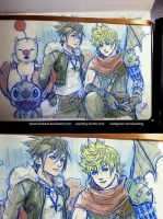 WIP - Sora, Roxas as Squall, Cloud by pauldng