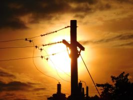 Sunset Behind A Utility Pole by EclipsePegasus