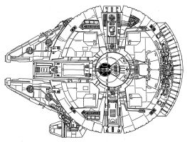 Millennium Falcon Bottom View by RedSpider2008