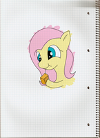 Fluttershy taking orange juice by Zoekleinman