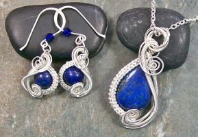 Lapis Lazuli and Silver Swish Pendant/Earring Set by HeatherJordanJewelry