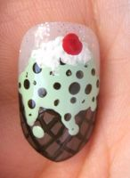 Mint Chocolate Chip Ice Cream Nail Art by Animalluver1985
