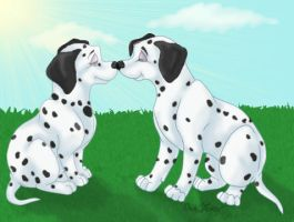 101 Dalmatians Lucky and Jewel by pawprintsart