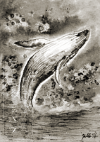 Inktober #27   Whale   ACEO by silverybeast