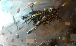 Asteroid Belt Outpost by tombru