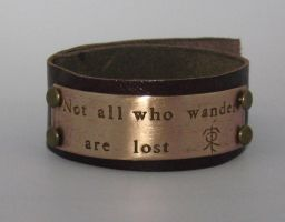 Tolkien quote leather and bronze cuff by Peaceofshine