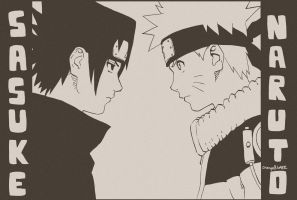Sasuke and Naruto by orangeBLAZE002