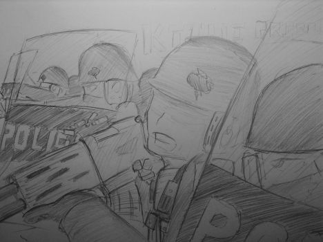 Sketch: Riot Control by woundedskies