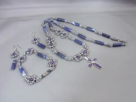 Amethyst Sodalite Byzantine Cross Chainmail Set by Pharewings