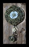 Steampunk clock Pendant by querulousArtisan