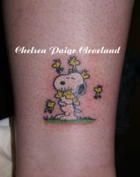 Snoopy and Woodstock - ankle by SmilinPirateTattoo