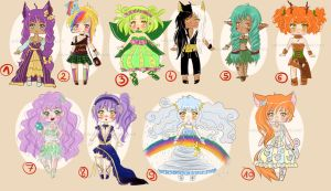 Adoptables -   OPEN - only one left ! by Solceress
