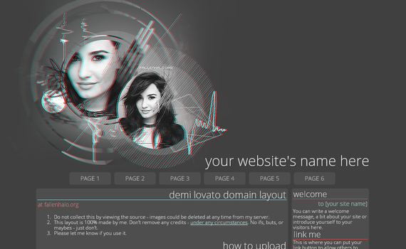 Demi Lovato Domain Layout 2 by FallennHalo