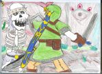 Link Battles Tall Stalfos by ForestKitty22