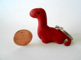 Red Dinosaur Keychain by Amy-the-Artisan