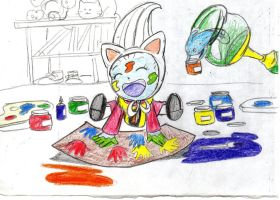oracle and baby whis   playing with colored paints by wildo123