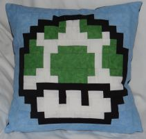 Green Mushroom Pillow by quiltoni