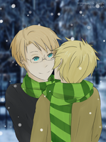 Hetalia: Scarf Sharing by trefles
