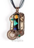 Multicolour steampunk pendant by ukapala