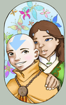 Aang and Katara Colored by AmiraElizabeth