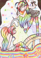 Rainbow Sisters by alittleofsomething