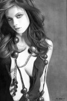 Michelle Trachtenberg Pencil Drawing by theGaffney