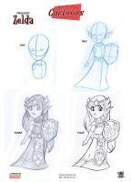 Princess Zelda step by step tutorials by celaoxxx