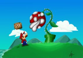 Mario vs Piranha plant by Nrai