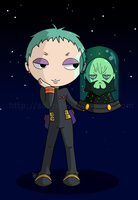 Chibi Leeron and Lord Genome by saurien