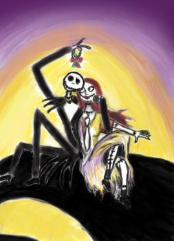 Jack n Sally drawing edited by PoisonHeart555