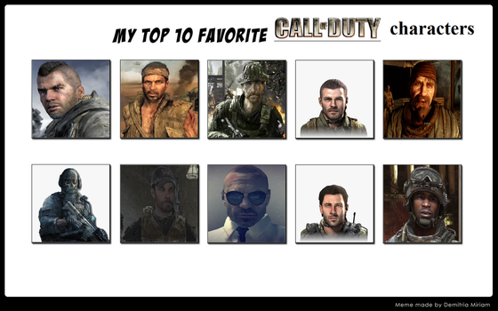 My Top 10 Favorite Call of Duty characters by BeeWinter55