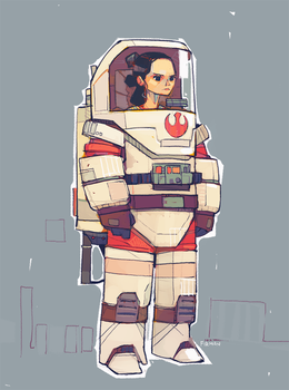 Rey-a-Day 92 Bulkier spacesuit by michaelfirman