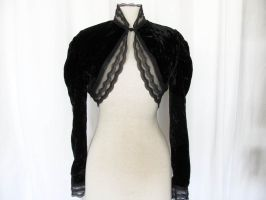 Black velvet and lace shrug by yinco