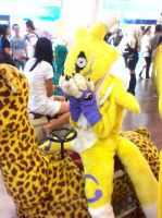 Renamon on the Giraffe by Aname-Girl