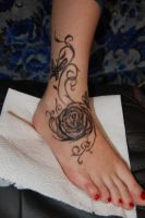rose and butterflies by Kiddotattoo