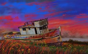 abandoned boat by nosoart