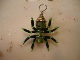 green steam punk spider charm by the-muffin-lord