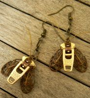 Steampunk Moth Zipper Earrings by deathbysunset