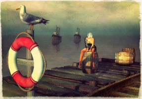 Idle as a painted ship upon a painted oceanv by Yevkine