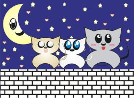 Three cats top of the wall by Angie-Lucena